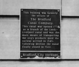 Plaque marking the building that once housed the offices of the Bradford Canal Company